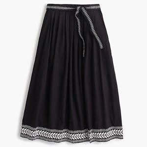 JCREW/ embroidered midi skirt NWT